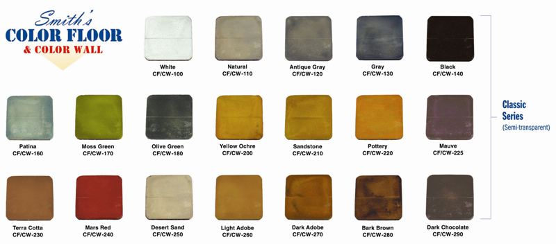 Smith's Color Floor Classic Series Color Chart